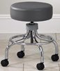 2102-CC Chrome base stool with round footring and dual wheel nylon carpet casters