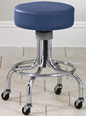 "2192 Tall chrome stool 20½"" - 26½"" with round footring and rubber casters"